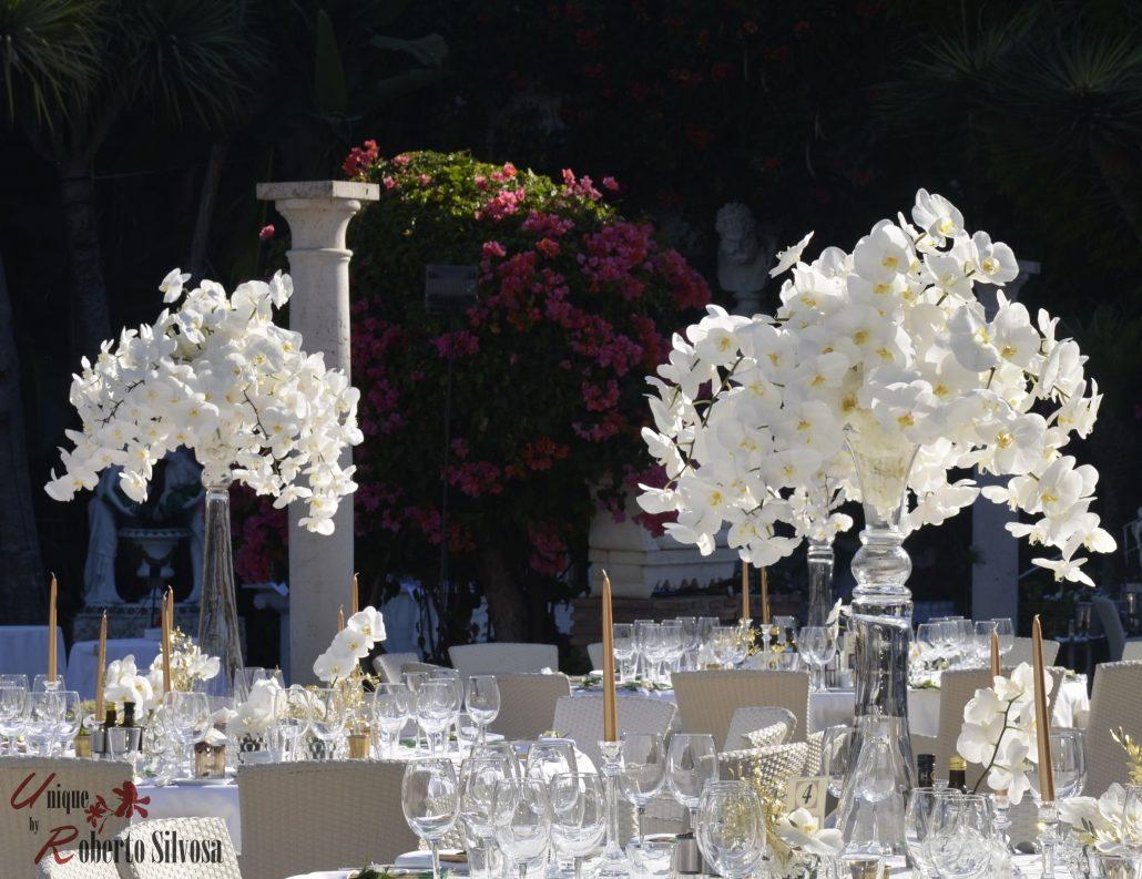 centros de mesa altos con Orquídeas